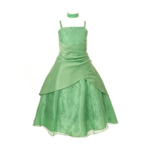 Huncho Big Girls Clover Organza Lace Overlay Junior Bridesmaid Dress