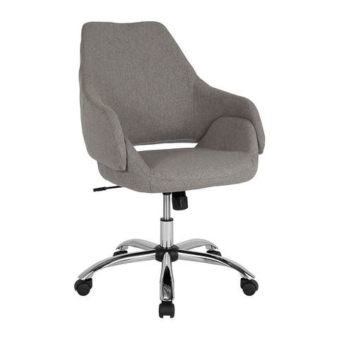 Offex Home and Office Upholstered Mid Back Swivel Chair in Light Gray Fabric
