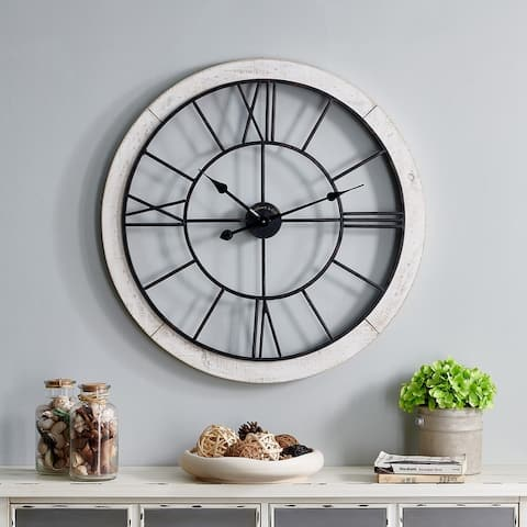 FirsTime & Co. Timeworn Farmhouse Cottage Wall Clock, Metal, 27 x 2 x 27 in, American Designed