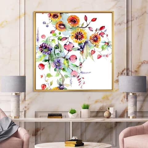 Designart 'Vibrant Wild Spring Leaves and Wildflowers XI' Modern Framed Canvas Wall Art Print