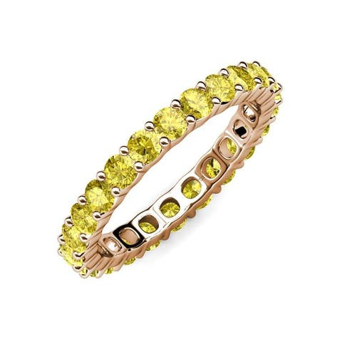 TriJewels Common Prong Yellow Sapphire Eternity Ring 2.99 ctw 14K Gold