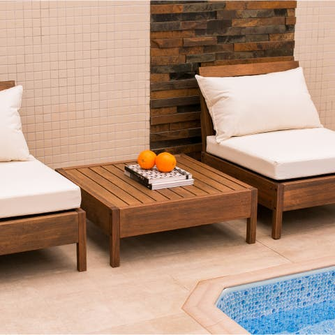 """Grass Eucalyptus Wood Outdoor 31"""" Square Coffee Table"""