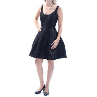 BETSY & ADAM $169 Womens New 1055 Black Zippered Sleeveless A-Line Dress 6 B+B