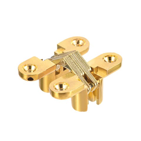 Invisible Concealed Cross Hinges Wooden Doors, Zinc Alloy, 43 x36x12mm - Golden - 43mm length,1 pcs - 43mm Length,1 pcs