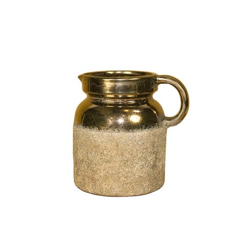 Traditionally Designed Terracotta Pitcher, Gold