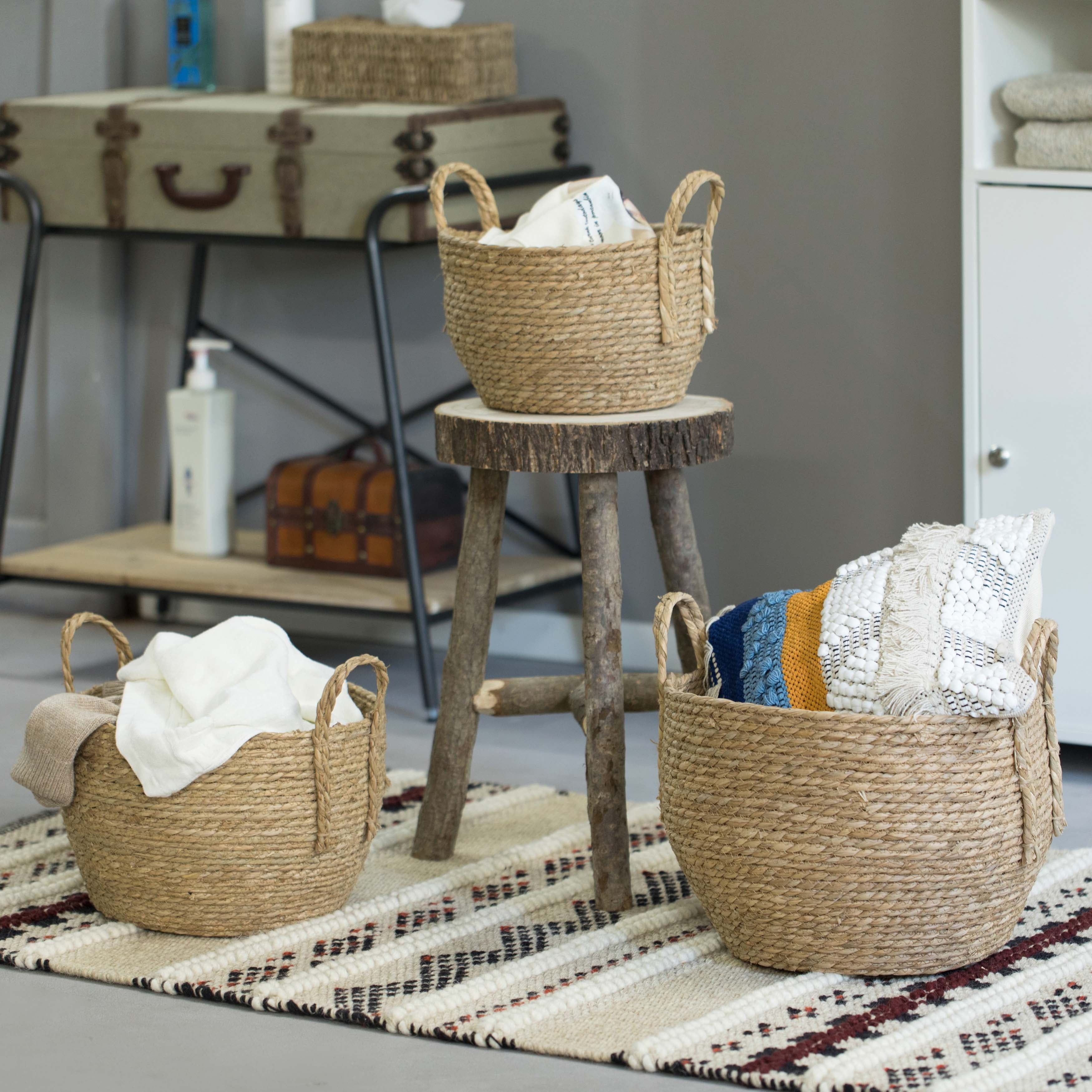 Decorative Round Wicker Woven Rope Storage Blanket Basket With Braided Handles Set Of 3 Overstock 32561605