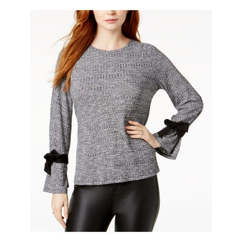 KENSIE Womens Gray Heather Long Sleeve Jewel Neck Top Size XS