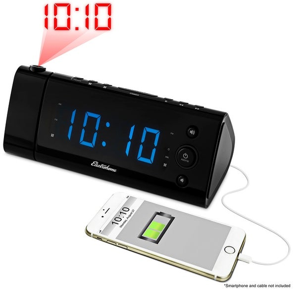 Electrohome USB Charging LED Alarm Clock Radio with Time Projection, Battery Backup, Auto Time Set, Dual Alarm (EAAC475)