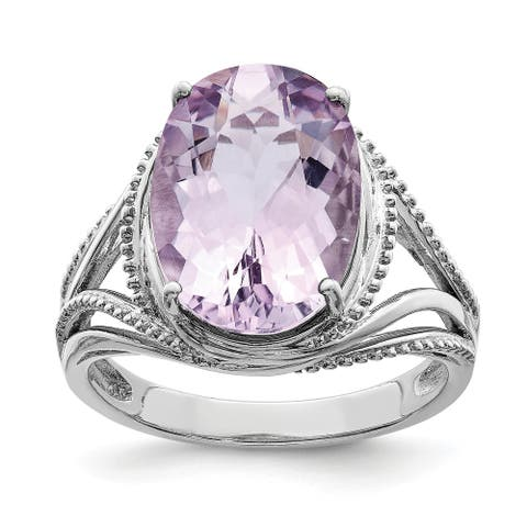 Sterling Silver Rhodium-plated Polished Pink Quartz 3mm Ring by Versil