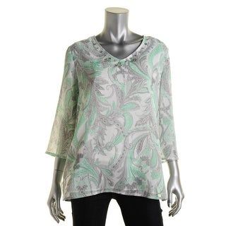 Alfred Dunner Womens High Tea Embellished Paisley Pullover Top - 12