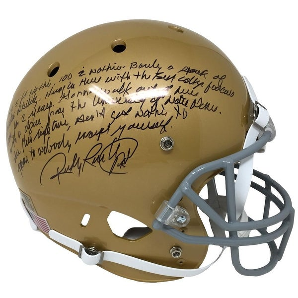 Shop Rudy Ruettiger Signed Notre Dame FS Schutt Replica Helmet w  Full  Quote JSA ITP - Free Shipping Today - Overstock - 22355679 8afe6a892