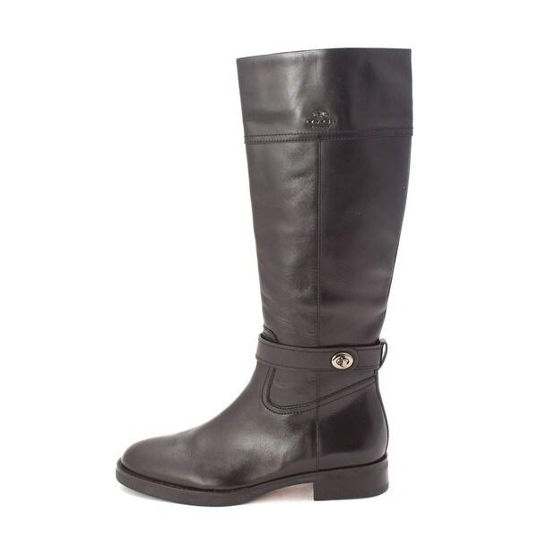 Coach Womens Eva Mat Calf Leather Almond Toe Knee High Riding Boots