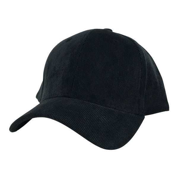 Corduroy Mid Crown Curved Visor Velcro Adjustable Cap Hat - Black