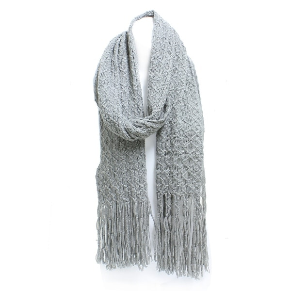 Winter Knit Honeycomb Rectangle Scarf with Fringe