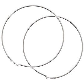 Sterling Silver Earrings Beading Hoops 1.2 Inch / 30mm (2)