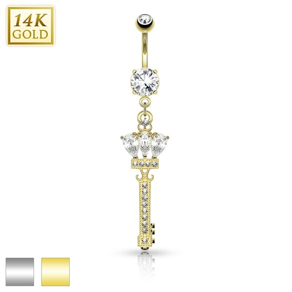 14Kt Gold Crowned Key Dangle with Micro Pave CZ Belly Button Navel Ring-14GA (Sold Ind.)