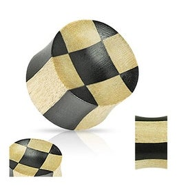 Organic Ebony Areng & Light Crocodile Wood Checker Concave Saddle Plug (Sold Individually)