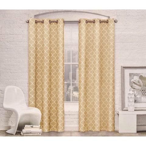 Contemporary Moroccan Trellis Design Classy Top Grommet Two Panel Window Curtain Set