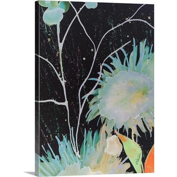"""Big Blue Flowers At Night"" Canvas Wall Art"