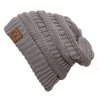 Trendy Warm CC Chunky Soft Stretch Cable Knit Soft Beanie, Lt Grey
