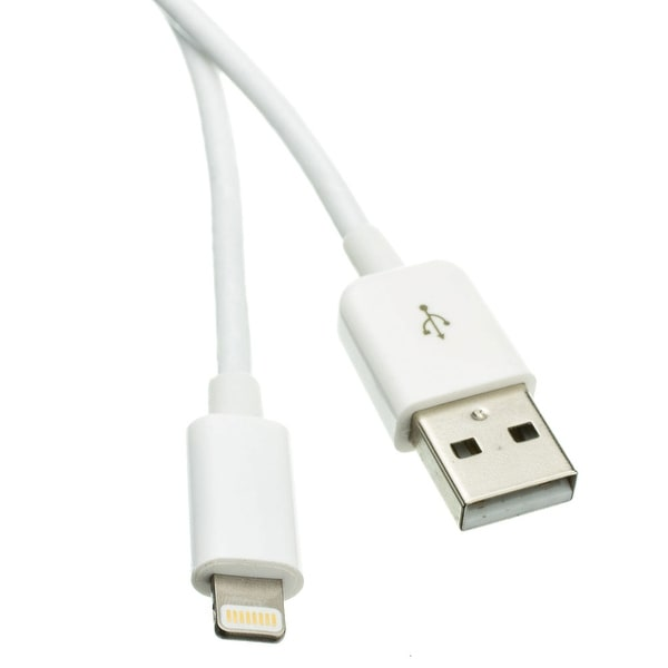 Offex Apple Lightning Authorized White iPhone, iPad, iPod USB Charge and Sync Cable, 6 foot