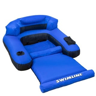 """55"""" Inflatable Blue and Black Ultimate Floating Swimming Pool Chair Lounger - N/A"""