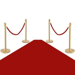 Costway 4Pcs Stanchion Posts Queue Pole Retractable 2 Velvet Ropes Crowd Control Barrier - GOLD