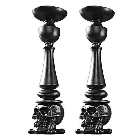 Design Toscano Shadow of Darkness: Skull and Bones Candlesticks Set of Two