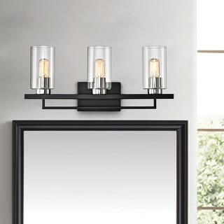 Link to Black and Brushed Nickel 3-Light Vanity with Clear Beveled Glass Shades Similar Items in Bathroom Vanity Lights