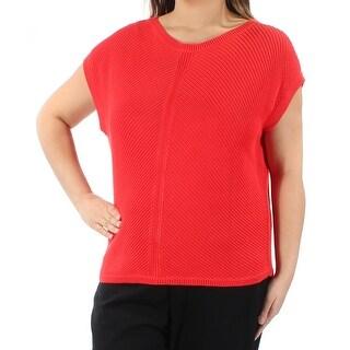 RALPH LAUREN $89 Womens New 1557 Red Jewel Neck Short Sleeve Sweater XL B+B