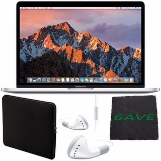 """Apple 13.3"""" MacBook Pro (Silver) #MPXU2LL/A + White Wired Earbuds Headphones + Padded Case For Macbook + Fibercloth Bundle"""