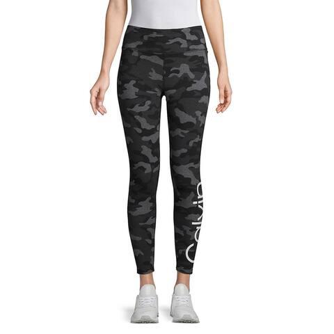 Calvin Klein Camo Printed Logo High-Waist Ankle Leggings, Black, XS