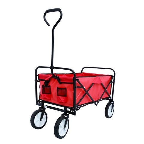 Collapsible Utility Wagon Cart, Garden Folding Beach Carts With Big Wheels For Shopping, Outdoor and Camping