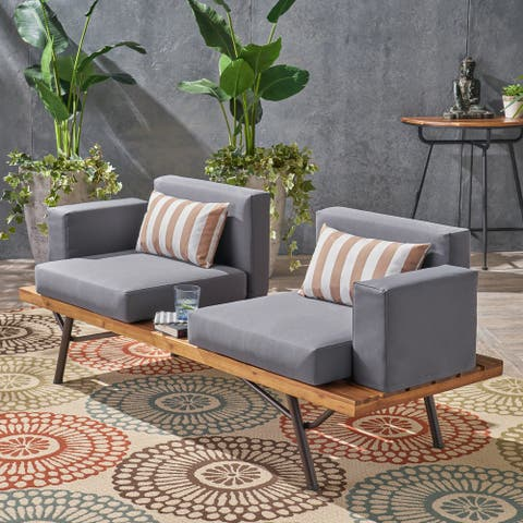 Canoga Outdoor Industrial 2-seater Sofa by Christopher Knight Home