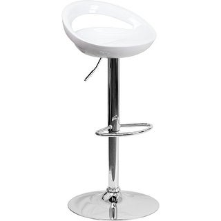 Estella Rounded White Plastic Adj Bar/Counter Stool
