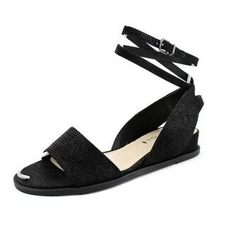 Via Spiga Enora Women Open Toe Suede Black Wedge Sandal