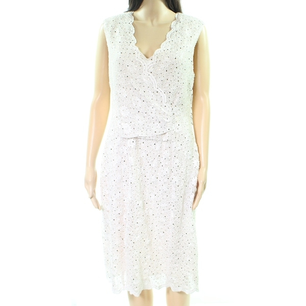 Connected Apparel Beige Womens Size 14 Sequin Lace Sheath Dress