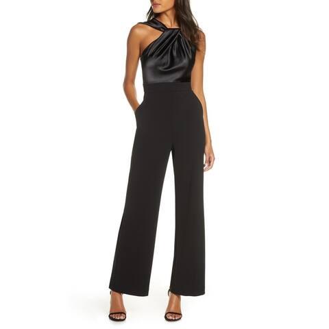 Eliza J Womens Jumpsuit Black Size 6 Satin Twist-Neck Crepe Wide-Leg