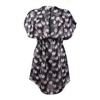 Miken Women's Palm-Print V-Neck Chiffon Swim Coverup - BLACK/WHITE