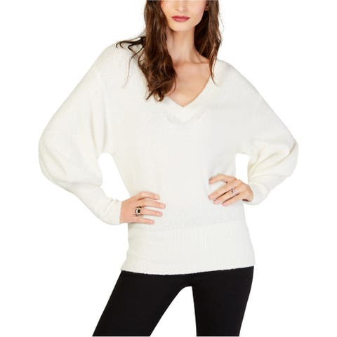 Michael Kors Womens Blouson Sleeve Pullover Sweater, White, Large