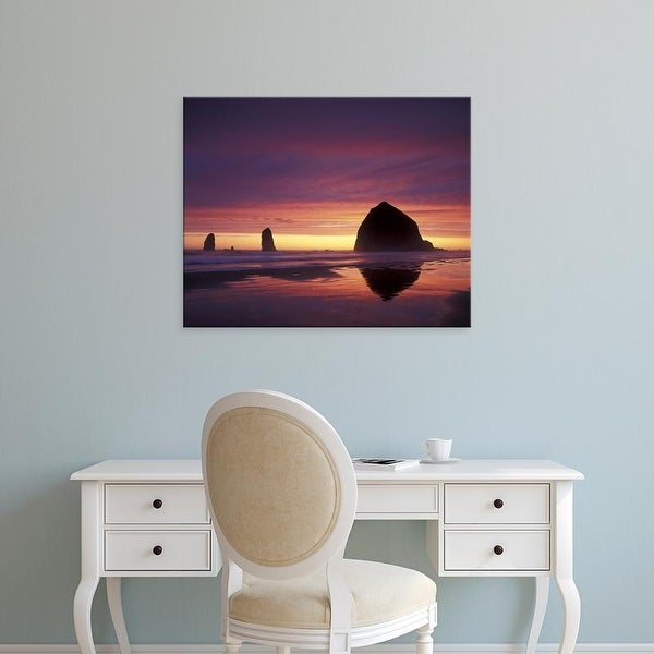 Easy Art Prints Adam Jones's 'Cannon Beach Haystack Rock Silhouetted At Sunset' Premium Canvas Art
