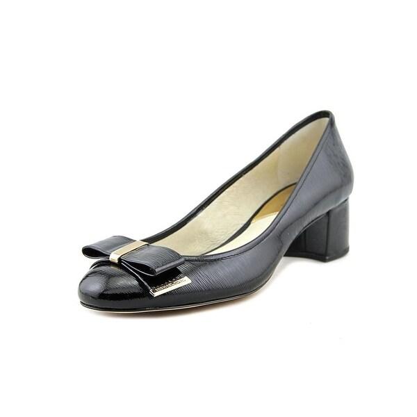 Michael Michael Kors Kiera Mid Pump Women Round Toe Patent Leather Black Heels