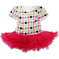 Wenchoice Baby Girls White Hot Pink Polka Dots Tutu Bodysuit
