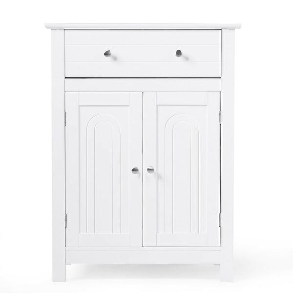 Gymax Bathroom Storage Cabinet Free Standing Large Drawer W/Adjustable Shelf White