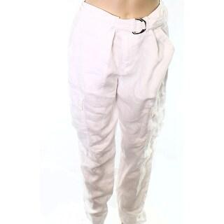 Lauren Ralph Lauren NEW White Womens Size 8 Belted Linen Cargo Pants