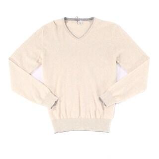 ELEVENTY NEW Beige Mens Size Large L Tipped V-Neck Cashmere Sweater