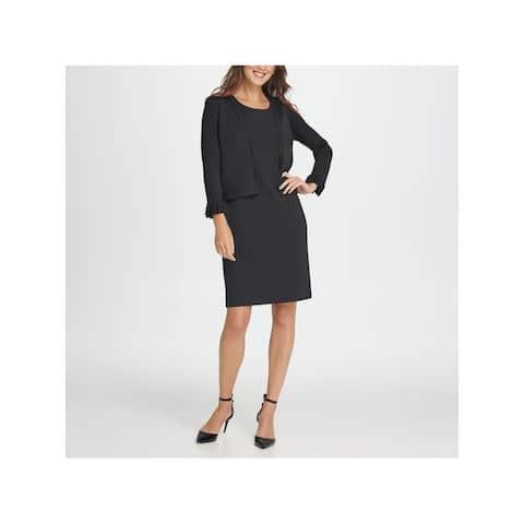 DKNY Womens Black Ruffled Long Sleeve Open Cardigan Sweater Size XL