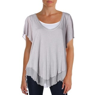 Free People Womens Blouse Linen Blend Sharkbite Hem