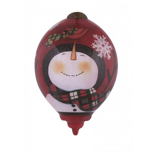 """Ne'Qwa """"Pals in Plaid"""" Hand-Painted Blown Glass Christmas Ornament #7151149"""