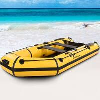 Goplus 4-Person 10FT Inflatable Dinghy Boat Fishing Tender Rafting Water Sports - Yellow